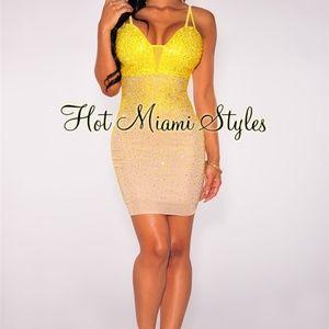 Nude Yellow Iridescent Stones Padded Mini Dress